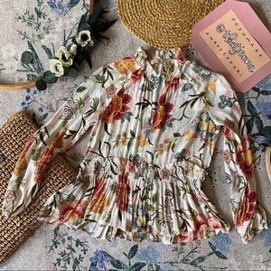 S LOFT white floral top blouse feminine career t